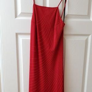 Red floor-length dress
